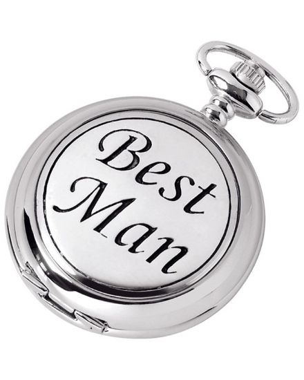'Best Man' Quartz Pocket Watch with Chain